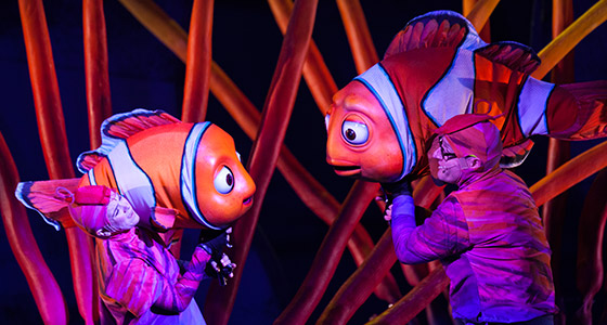 Performers onstage during Finding Nemo - The Musical at Disney's Animal Kingdom Park