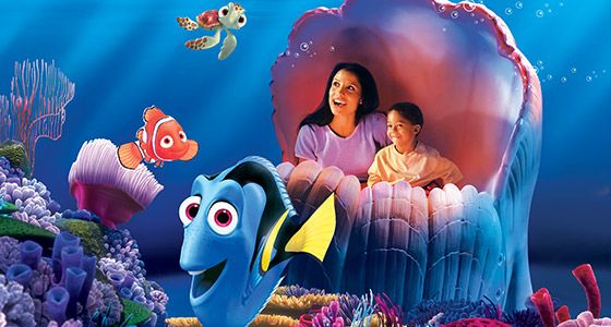 A mom and son on The Seas With Nemo & Friends at Epcot.