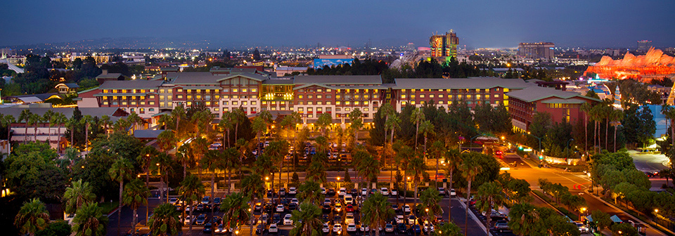 Disney's Grand Californian Hotel & Spa parking lot with palm trees at night