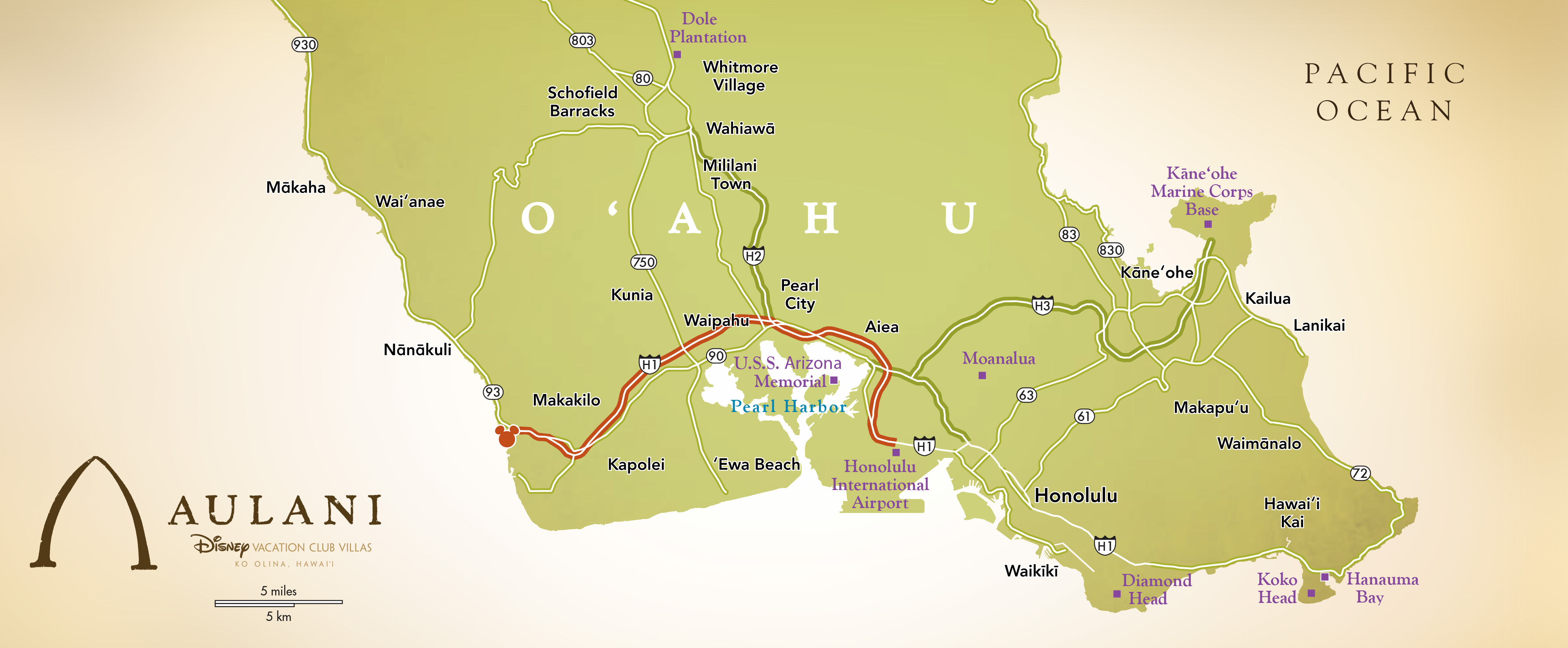 A map showing the route from Honolulu to Aulani Resort & Spa on the Southwestern shore of O'ahu