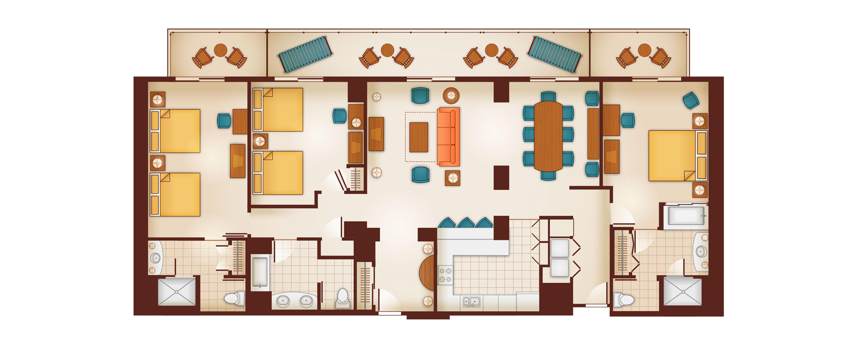 3 bedroom grand villas aulani hawaii resort spa for Disney old key west 3 bedroom villa