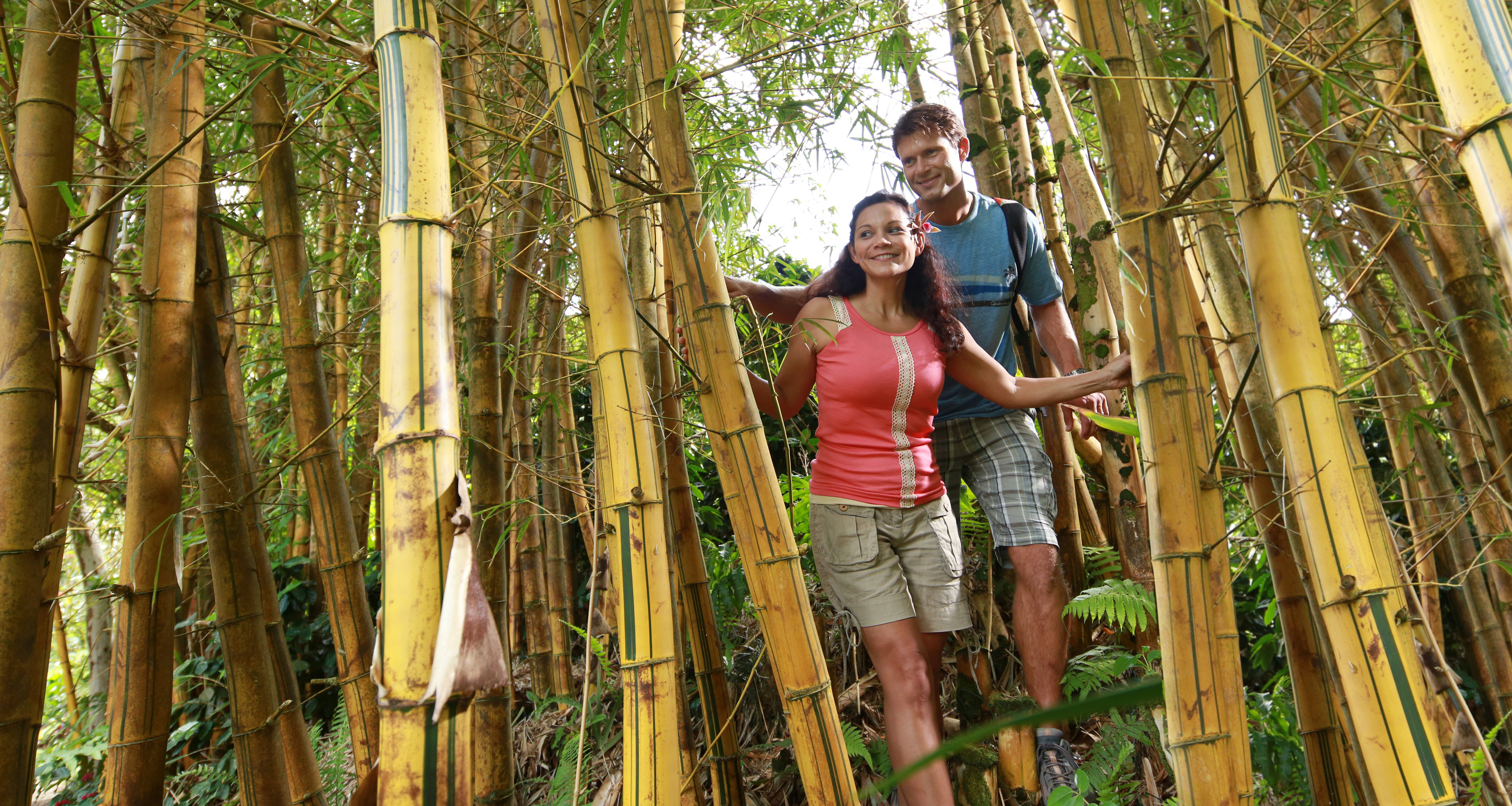 A young man and woman hike a trail through a tall bamboo forest