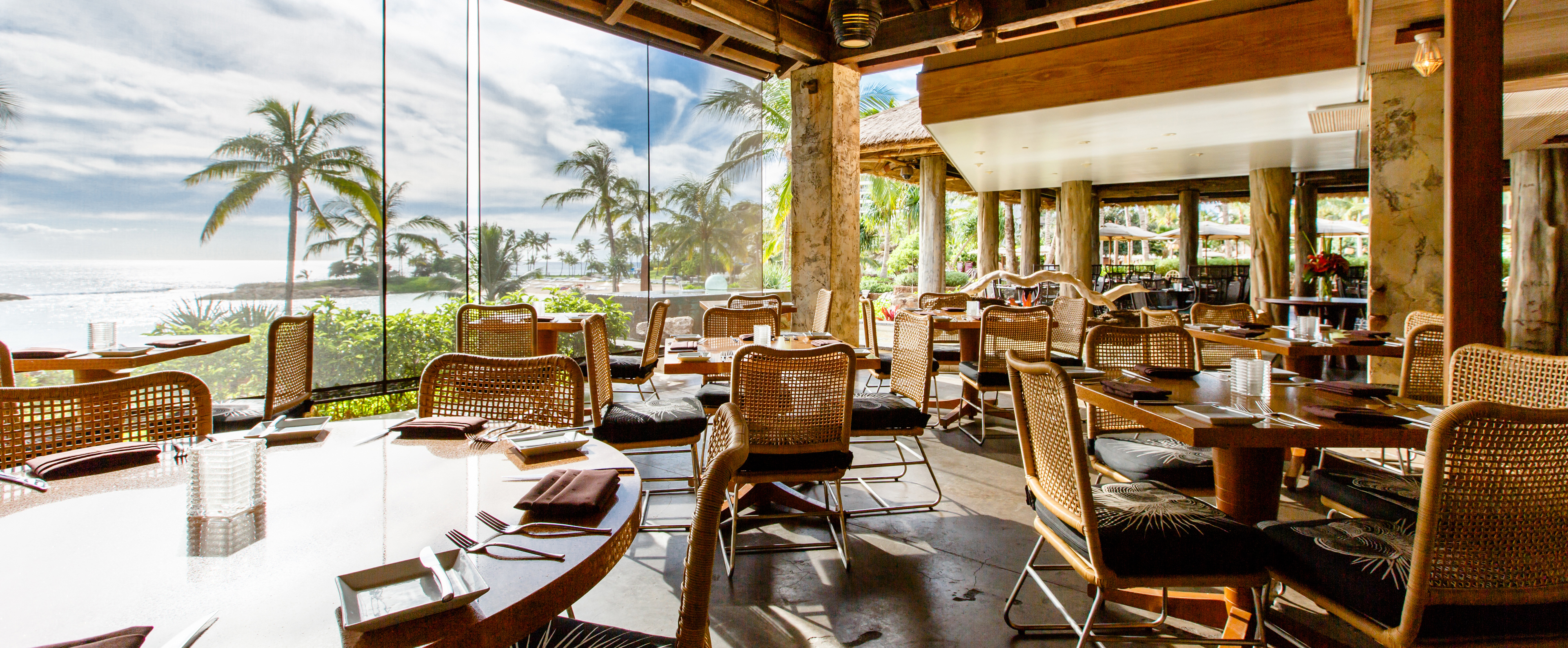 ... With Palm Trees And Tables On A Covered Patio Look Upon Palm Trees And  Ocean Views Through Roll Down ...