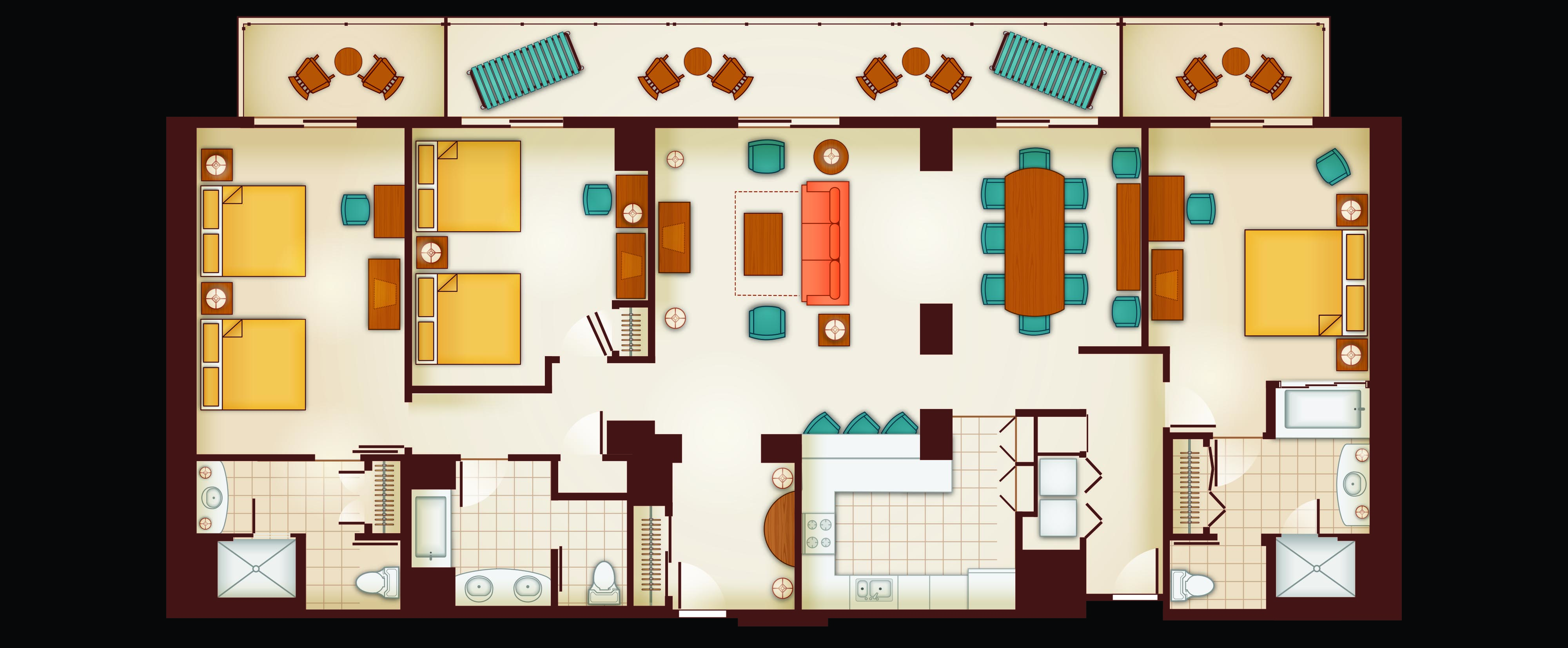 Floor Plan of a 3 Bedroom Grand Villa. Three Bedroom Grand Villa   Aulani Hawaii Resort   Spa