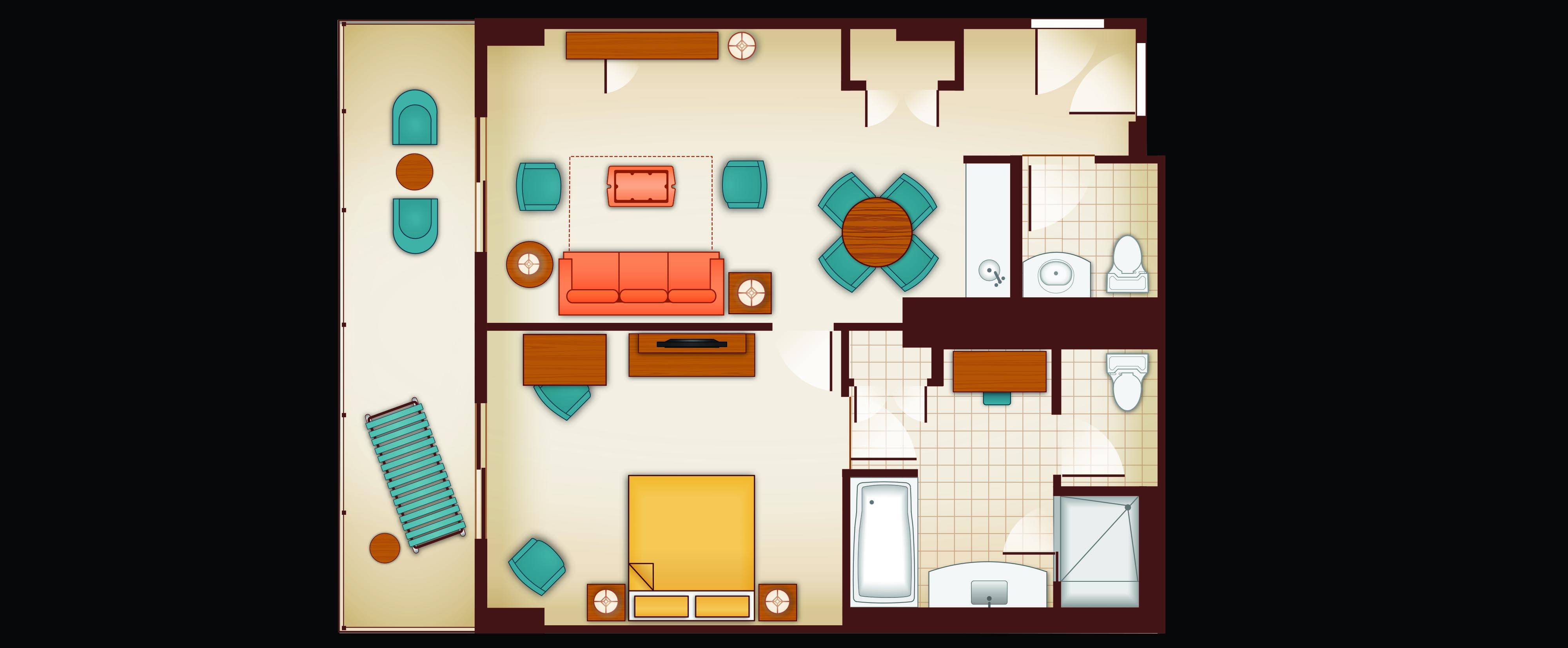 Floor plan of a 1-Bedroom Parlor Suite