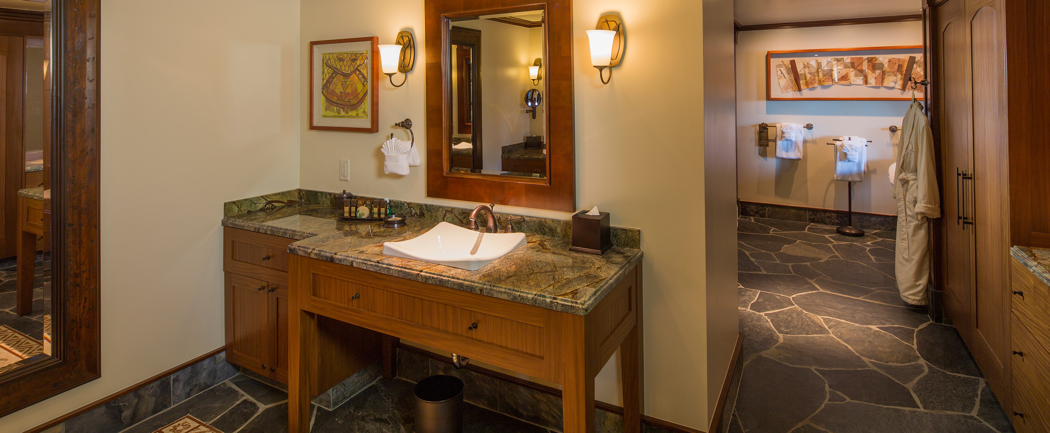 ... A Bathroom In A 2 Bedroom Suite Includes A Sink, Large Granite  Countertop, ...