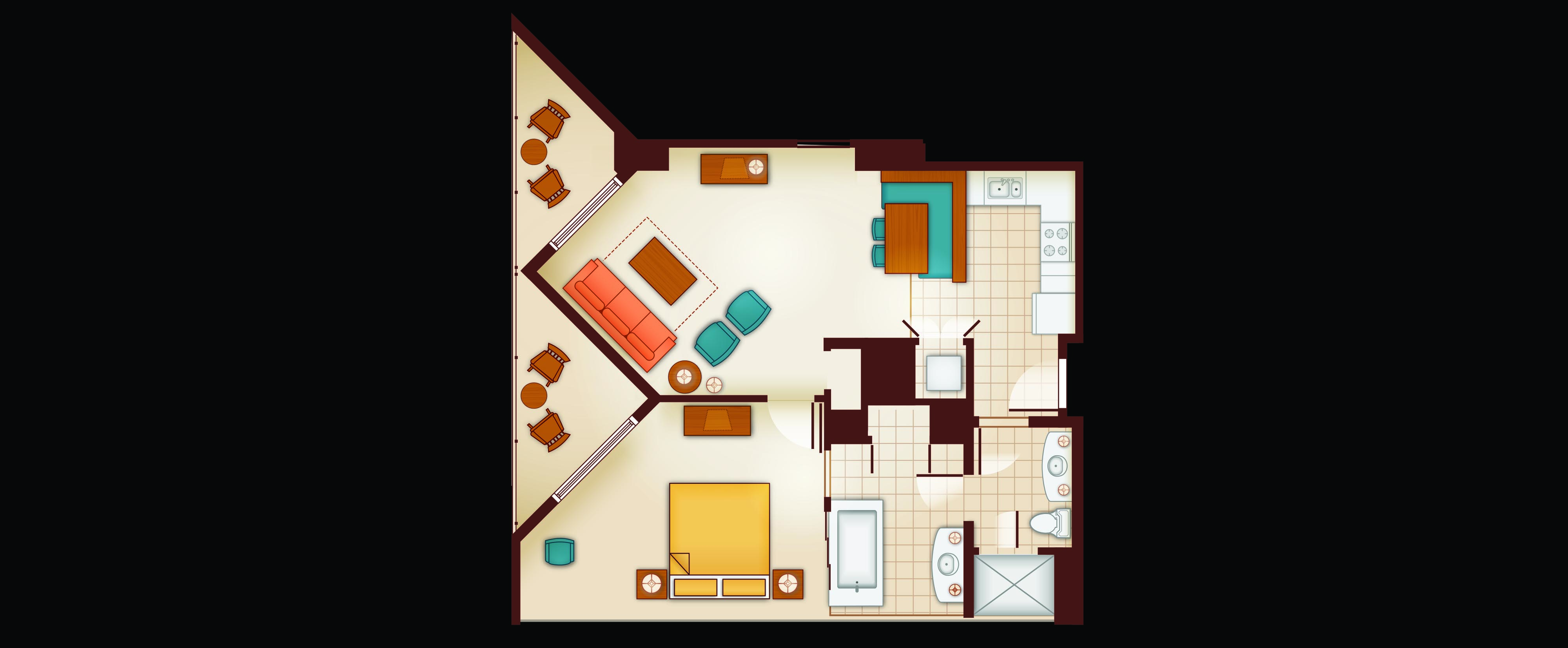 Floor Plan of a 1-Bedroom Villa