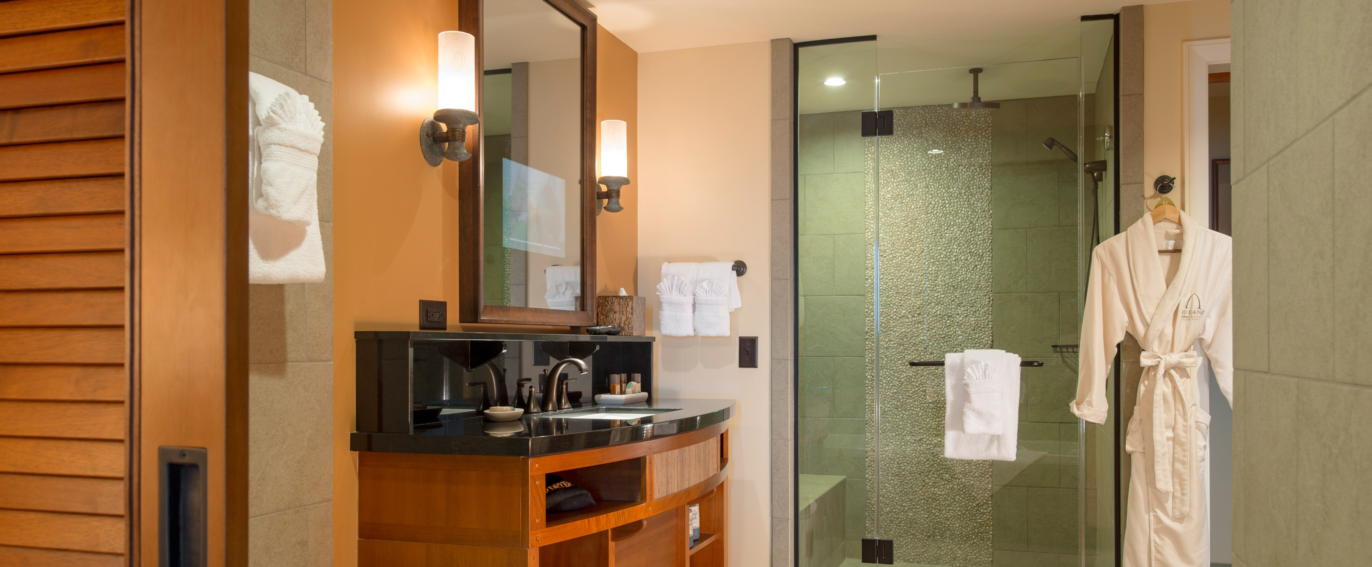 A bathroom with a modern-style vanity, glass-door shower and Aulani terry robe hanging on the wall